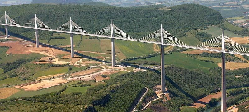 Viaduc de Millau/Millau bridge.Join us on our Corsica car tour.