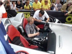 Mika Hakkinen at the Mille Miglia, Brescia.Join us on our 2018 Mille Miglia tour