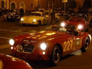 Mille Miglia,Manerbio, cars returning to Brescia, Saturday.Join us on our 2014 Mille Miglia tour
